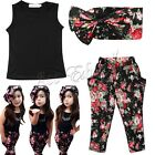 New Baby Girls Clothing Set Black Top Floral Pants Headband 3 Pcs/Outfit Suit
