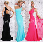 EDLES SEXY ONE SHOULDER ABEND MAXI BALL* KLEID FEST SCHLEPPE STRASS PERLEN 34-38