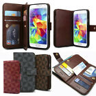Double Leather Wallet Diary Book Case Flip Cover For iPhone Samsung Galaxy+Film