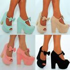 LADIES FAUX SUEDE BOW STRAP PEEP TOE CHUNKY BLOCK WEDGE PLATFORM HIGH HEEL SHOES