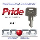 NEW MOBILITY SCOOTER KEY: Amigo GoGo Lark Mega Motion Pride & others. (See list)