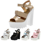 LADIES PEEP TOE WOMENS CUT OUT PARTY PLATFORM CLEATED HIGH HEEL SHOES SIZE 3-8
