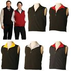 UNISEX REVERSIBLE VEST MENS WOMENS WORK UNIFORM CASUAL WARM ZIP TOP BLACK SPORT