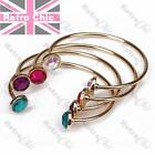 TORQUE BANGLE faux gem GOLD FASHION metal BRACELETS rhinestone STACKING BANGLES
