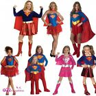 LADIES GIRLS SUPERGIRL SUPERHERO SUPERHEROES ADULT KIDS FANCY DRESS COSTUME NEW