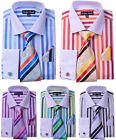 Men's Spread Collar French Cuff Stripe Shirt with Tie,Hankie,Cufflinks MS629
