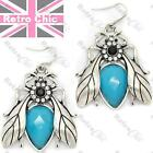 LARGE 4cm BEES vintage silver fashion BEE DROP EARRINGS insect QUIRKY rhinestone