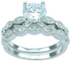 1.5 CT STERLING SILVER ROUND WEDDING ENGAGEMENT RING SET SIZE 5 6 7 8 9