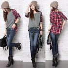 Fashion Womens Plaid Checked Round Neck Long Sleeve Casual T shirt Tops Blouse