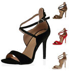 NEW LADIES CUT OUT OPEN TOE WOMENS ANKLE STRAPPY STILETTO HEEL SHOES SIZE 3-8