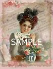 Fabric Art Quilt Block - Lovely Lady Collage - 15-131