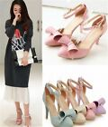 Womens Pointed Toe Ankle Strap Bow Tie High Heel Sandals Shoes Plus Size F30