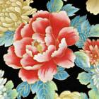 Asian Floral Metallic Gold, Pink, Blue on Black Cotton Fabric by Red Rooster