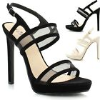 New Ladies Women Strappy High Heel Platform Stiletto Heel Peep Toe Sandals Shoes