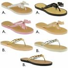 NEW LADIES WOMENS JELLY FLIP FLOPS DIAMANTE BOW SANDALS SUMMER BEACH SHOES SIZE