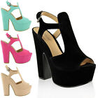 Sandals Wedges Shoes Ladies Platform High Heels Cut Out Summer Size