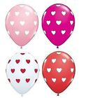 "6 Qualatex 11""  Big Hearts Polka Dots Party Balloons 4+ Colours (Helium Quality)"