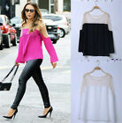 Women's Loose Chiffon Black Long Sleeve Shirt Casual Blouse Sexy Mini Fashion
