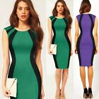 Celebrity Color Block Womens Career Office Work Formal Party Wiggle Pencil Dress