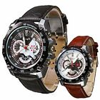 Casual Mens Fashion Luxury Leather Strap Big Dial Waterproof Quartz Wrist Watch