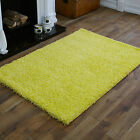 MEDIUM MODERN LARGE EXTRA LARGE 5CM HIGH PILE THICK LEMON YELLOW SHAGGY RUGS