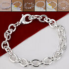 Woman Fashion Jewelry 925 Sterling Silver Plated Chain Bracelet 7 Styles