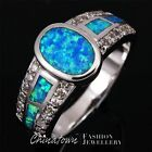 Oval Surface Blue Fire Opal Inlay Silver Jewelry Band Ring Size 6 7 8 9 10 11