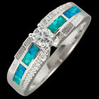 4mm Round Moissanite Ocean Blue Fire Opal Inlay Silver Band Ring Size 6 7 8 9 10