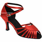 TPS Red Satin Latin Ballroom Salsa Dance Shoes All Size D890