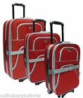 LIGHTWEIGHT SUITCASE LUGGAGE EXPANDABALE TROLLEY CANVAS LOCK NEW RED 2WHEELS