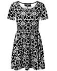 Killstar Pentagram Skater Dress Black White Velvet Goth Witch Occult