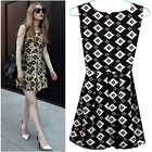 Black White Plaids Sleeveless Tunic Pleats Womens Tank Dress Mini Sundress Lined