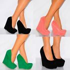 FAUX SUEDE WEDGED PLATFORMS COURT SHOES WEDGES HIGH HEELS PARTY PROM SIZES