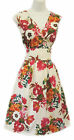 Retro WWII 1940s Land Girl White Pink  English Garden Floral Summer Tea Dress