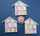 1:12 Single Assorted Clay 6 Rabbit Children & Wooden Frame Dolls House Accessory