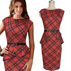 Sexy Ladies Belted Pinup Plaids Checks Women Bodycon Wear To Work Pencil Dress