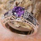 Hollow-out Purple Amethyst Semi-precious Stone SILVER Ring Size 6 /7 /8 /9 T7866