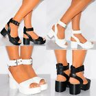 LADIES WHITE BLACK FAUX PU LEATHER ANKLE STRAP OPEN TOE STRAPPY BLOCK HIGH HEELS