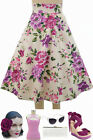 50s Style BOMBSHELL Pinup PURPLE SPRING BOUQUET ROSE Print High Waist FULL Skirt
