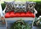 Red Tufted Cushion & Black Damask Scroll Pillows for Bench~Swing, Choose Size