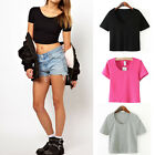 Sexy Women's Short Sleeve Scoop Neck Crop Top Colors Tee T-Shirt Casual Blouse