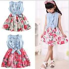 New Casual Baby Kid Girls Sleeveless Floral Flower Denim Dress 2-6Y