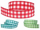 3m/6m/12m CHECKED RED GREEN WHITE 22mm wide Crafts Grosgrain Gift Wrap Ribbon