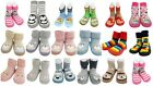Baby Kids Boy Girl Funky Moccasins Non Slip Indoor Slippers Socks Age 1 2 3