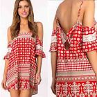 Vintage Sexy Summer Women Off Shoulder Backless Boho Beach Party Club Mini Dress