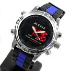 AW801A LED Alarm BackLight Water Resist Silicone Black Band Analog Digital Watch