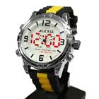 AW801D LED BackLight Silicone Black Band Unisex Dual Time Alexis Dual Time Watch