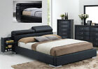 NEW BREOLA BLACK BYCAST LEATHER MODERN BED w/ BUILT-IN NIGHT STAND & STORAGE