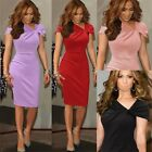 Office Work Knotted Women's Bodycon Formal Party Sheath Wiggle Pencil Dress Slit