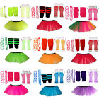 CHILD NEON TUTU SKIRT GLOVES LEGWARMERS BEADS BANGLES 1980S FANCY DRESS